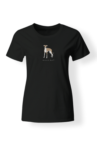 Ladies Fitted Crew Neck T-Shirt - Whippets Rule! Black