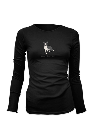 Ladies Fitted Long Sleeve T-Shirt - Boarder Collies Rule! Black
