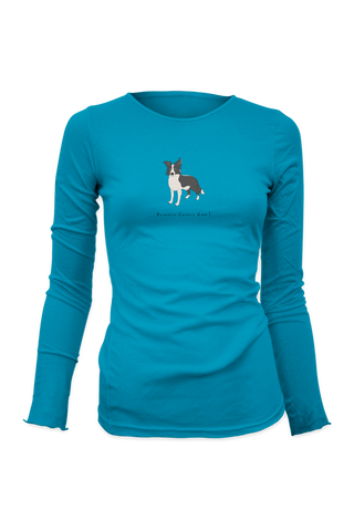 Ladies Fitted Long Sleeve T-Shirt - Boarder Collies Rule! Caribbean Blue