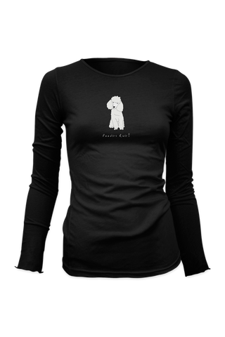 Ladies Fitted Long Sleeve T-Shirt - Poodles Rule! Black