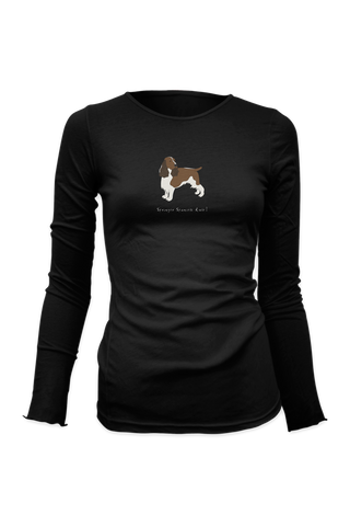 Ladies Fitted Long Sleeve T-Shirt - Springer Spaniels Rule! Black