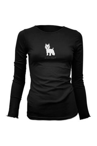 Ladies Fitted Long Sleeve T-Shirt - Westies Rule! Black
