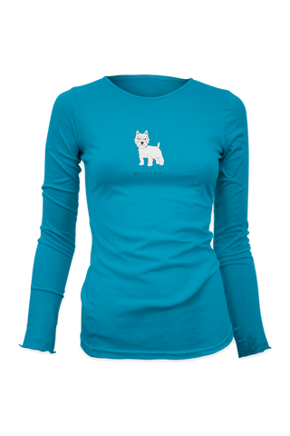 Ladies Fitted Long Sleeve T-Shirt - Westies Rule! Caribbean Blue