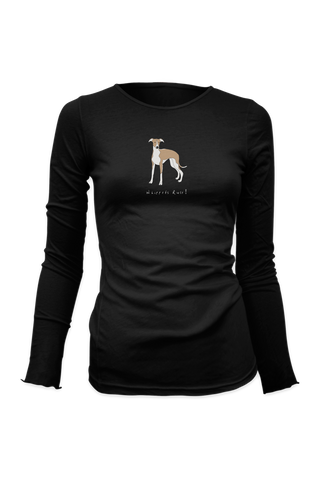 Ladies Fitted Long Sleeve T-Shirt - Whippets Rule! Black