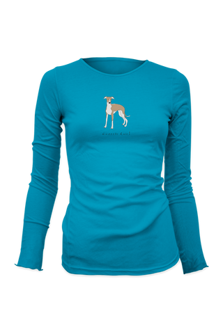 Ladies Fitted Long Sleeve T-Shirt - Whippets Rule! CAribbean Blue