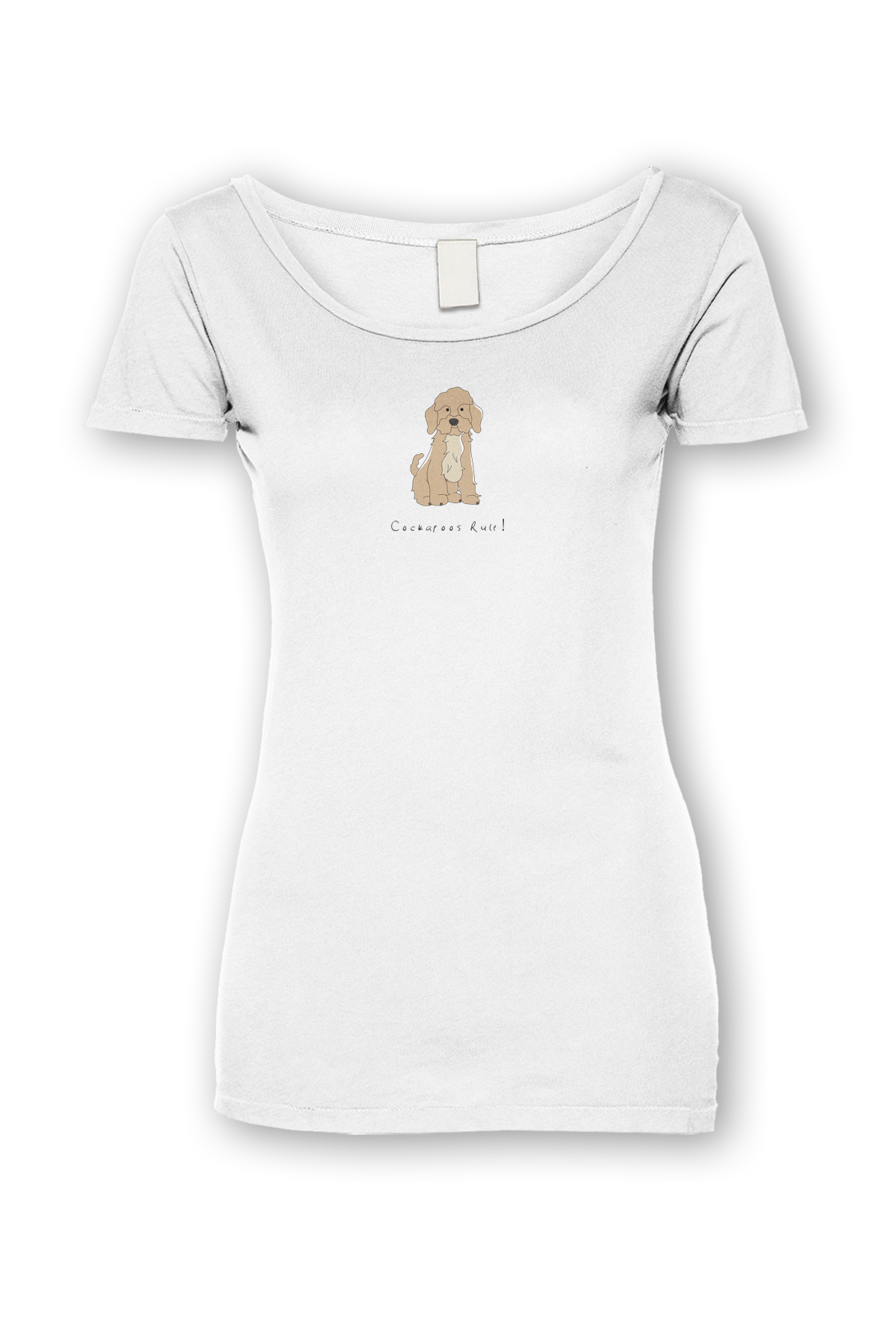 Ladies Sheer Scoop Neck T-Shirt - Cockerpoos Rule! White