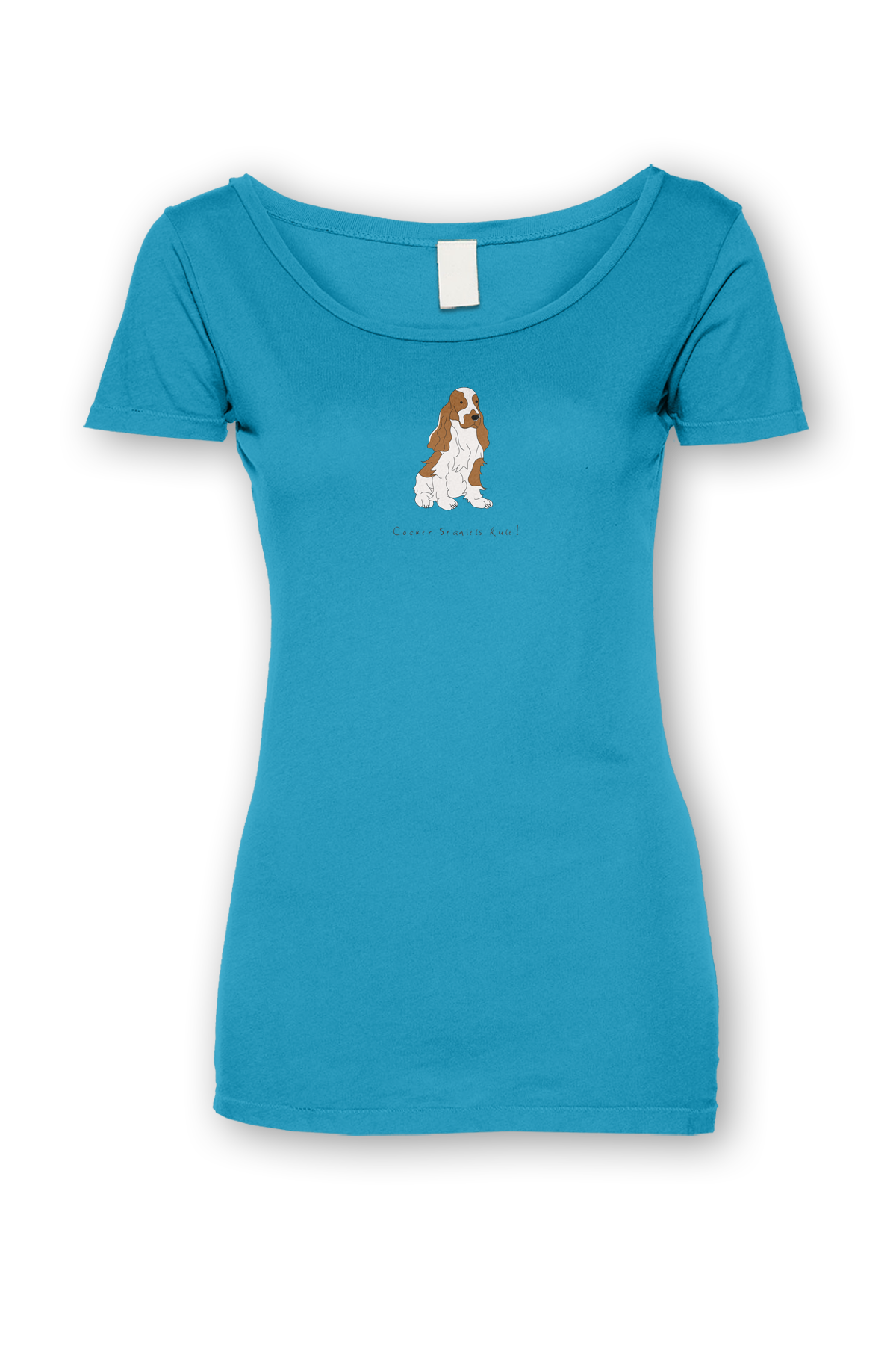 Ladies Sheer Scoop Neck T-Shirt - Cockerpoos Rule! Caribbean Blue