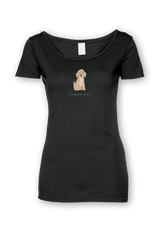 Ladies Sheer Scoop Neck T-Shirt - Cockerpoos Rule! Black