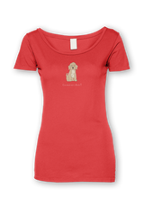 Ladies Sheer Scoop Neck T-Shirt - Cockerpoos Rule! Coral