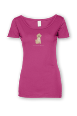 Ladies Sheer Scoop Neck T-Shirt - Cockerpoos Rule! Raspberry