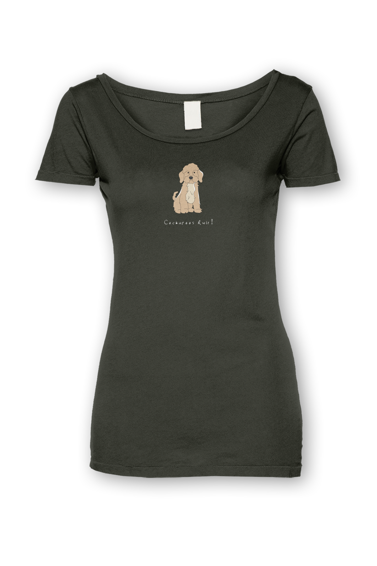 Ladies Sheer Scoop Neck T-Shirt - Cockerpoos Rule! Smoke