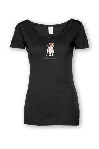 Ladies Sheer Scoop Neck T-Shirt - Jack Russells Rule! Black