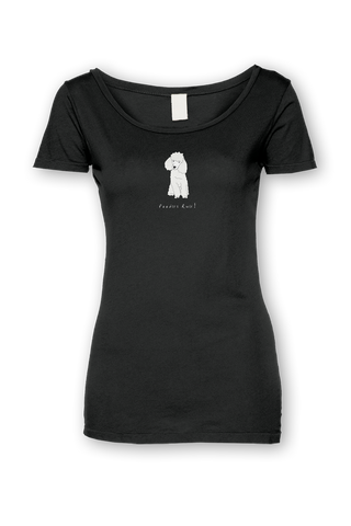 Ladies Sheer Scoop Neck T-Shirt - Poodles Rule! Black