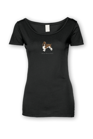 Ladies Sheer Scoop Neck T-Shirt - Springer Spaniels Rule! Black