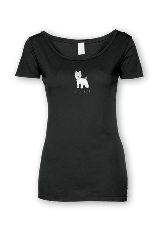 Ladies Sheer Scoop Neck T-Shirt - Westies Rule! Black