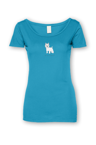 Ladies Sheer Scoop Neck T-Shirt - Westies Rule! Caribbean Blue