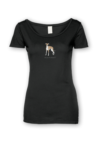 Ladies Sheer Scoop Neck T-Shirt - Whippets Rule! Black