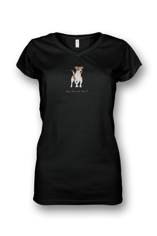 Ladies Sheer V Neck T-Shirt - Jack Russells Rule! Black