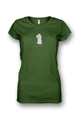 Ladies Sheer V Neck T-Shirt - Poodles Rule! Apple Green