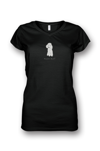 Ladies Sheer V Neck T-Shirt - Poodles Rule! Black