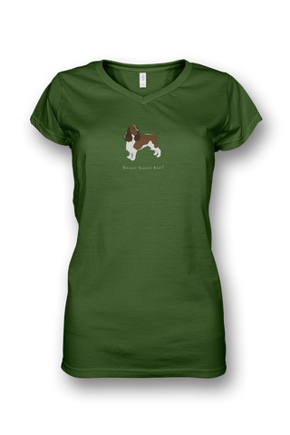 Ladies Sheer V Neck T-Shirt - Springer Spaniels Rule! Apple Green
