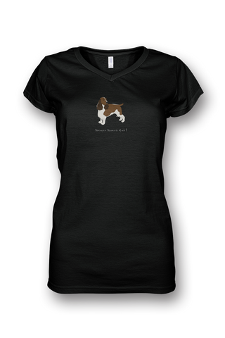 Ladies Sheer V Neck T-Shirt - Springer Spaniels Rule! Black