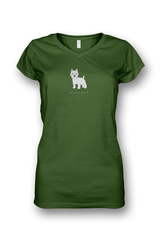 Ladies Sheer V Neck T-Shirt - Westies Rule! Apple Green