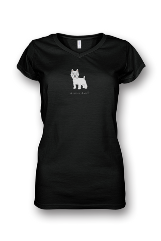 Ladies Sheer V Neck T-Shirt - Westies Rule! Black