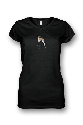 Ladies Sheer V Neck T-Shirt - Whippets Rule! Black