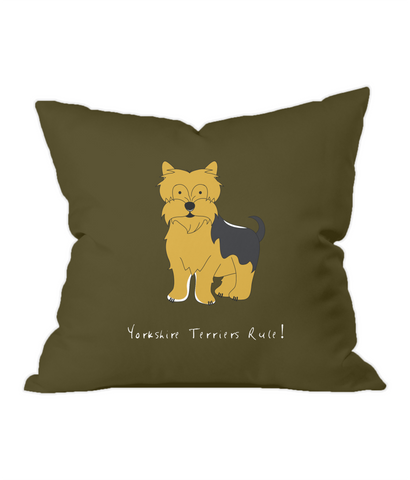 Yorkshire Terriers Rule! Chocolate Throw Cushion