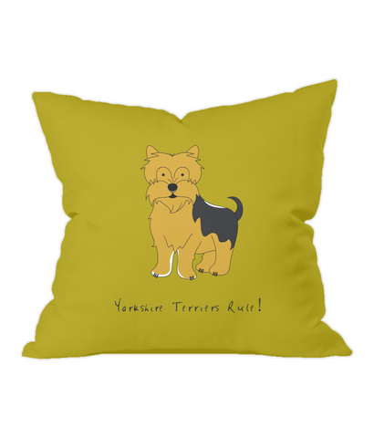 Yorkshire Terriers Rule! Gold Throw Cushion