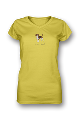 Ladies Sheer V Neck T-Shirt - Beagles Rule! - Dogs Rule!