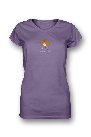 Ladies Sheer V Neck T-Shirt - Bulldogs Rule! - Dogs Rule!