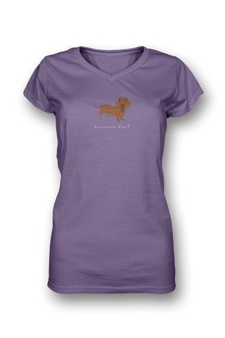 Ladies Sheer V Neck T-Shirt - Dachshunds Rule! - Dogs Rule!