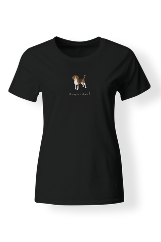 Ladies Fitted Crew Neck T-Shirt - Beagles Rule! - Dogs Rule!