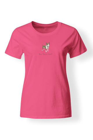 Ladies Fitted Crew Neck T-Shirt - Bull Terriers Rule! - Dogs Rule!