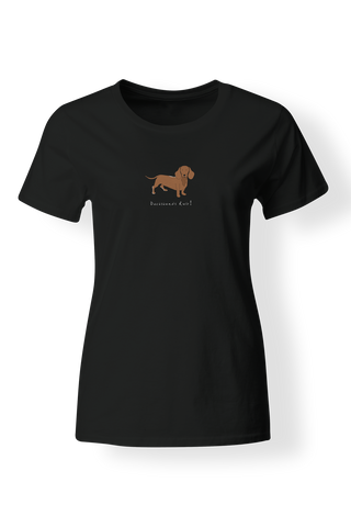 Ladies Fitted Crew Neck T-Shirt - Dachshunds Rule! - Dogs Rule!