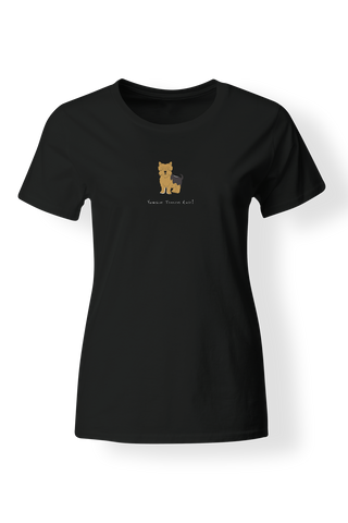 Ladies Fitted Crew Neck T-Shirt - Yorkshire Terriers Rule! - Dogs Rule!