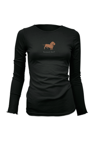 Ladies Fitted Long Sleeve T-Shirt - Dachshunds Rule! - Dogs Rule!