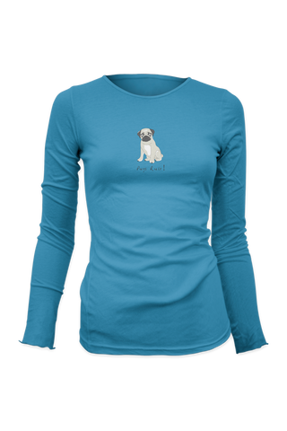 Ladies Fitted Long Sleeve T-Shirt - Pugs Rule!