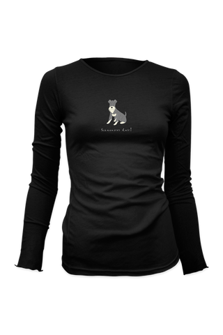 Ladies Fitted Long Sleeve T-Shirt - Schnauzers Rule! - Dogs Rule!