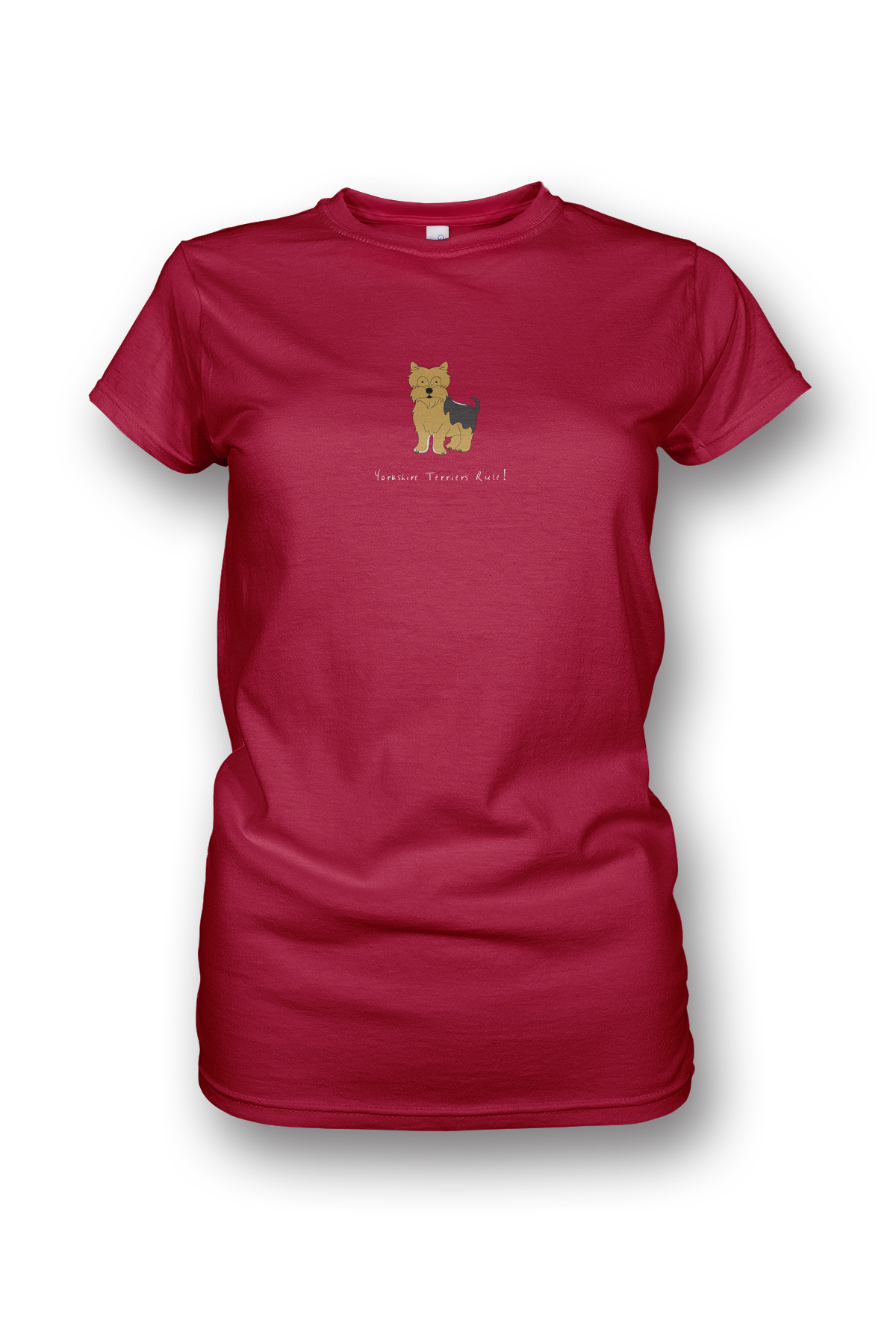 Ladies Crew Neck T-Shirt - Yorkshire Terriers Rule! - Dogs Rule!