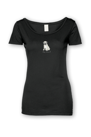 Ladies Sheer Scoop Neck T-Shirt - Pugs Rule! - Dogs Rule!