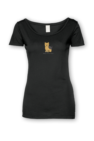 Ladies Sheer Scoop Neck T-Shirt - Yorkshire Terriers Rule! - Dogs Rule!