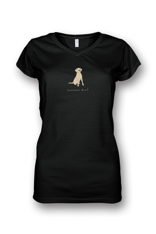 Ladies Sheer V Neck T-Shirt - Labradors Rule! - Dogs Rule!