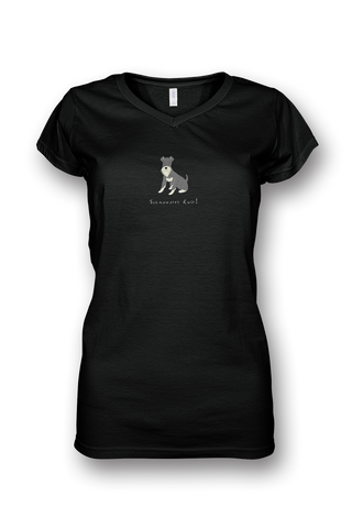 Ladies Sheer V Neck T-Shirt - Schnauzers Rule! - Dogs Rule!