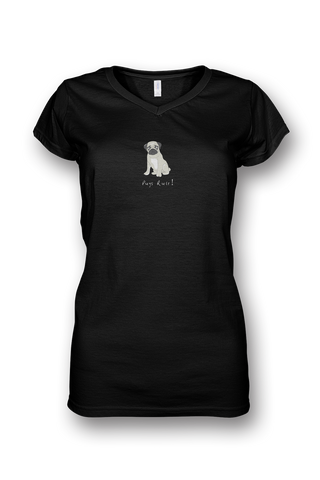 Ladies Sheer V Neck T-Shirt - Pugs Rule! - Dogs Rule!