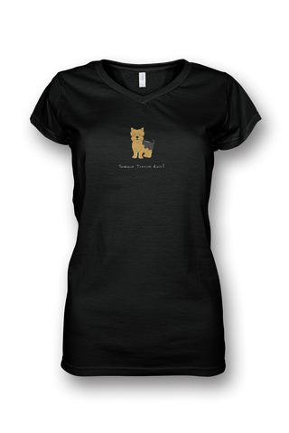 Ladies Sheer V Neck T-Shirt - Yorkshire Terriers Rule! - Dogs Rule!