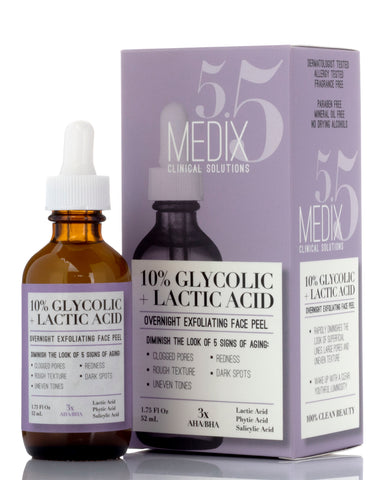 Medix 5.5 10% Glycolic + Lactic Acid Overnight Exfoliating Face Peel Face Serum