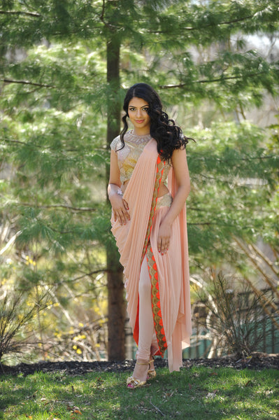 Stitched Orange Saree